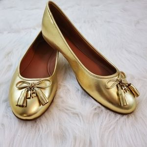**Coach Benni Size 8.5 Gold Leather Tassel Flats